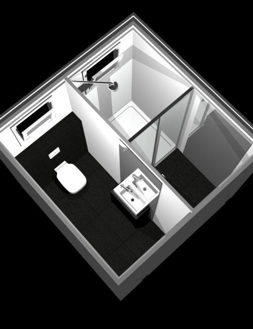 Progettazione bagno doccia mobile
